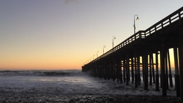 heavy surf and winds at ventura pier - ventura stock videos and b-roll footage