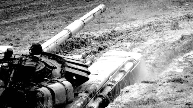 heavy tank overcomes a deep ditch - moat stock videos & royalty-free footage