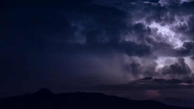 heavy thunderstorm with lightnings - temporale video stock e b–roll