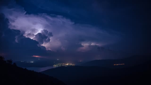 Heavy thunderstorm with lightnings