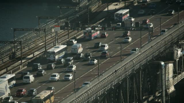 MS HA Heavy traffic and on Sydney Harbor Bridge / Sydney, New South Wales, Australia