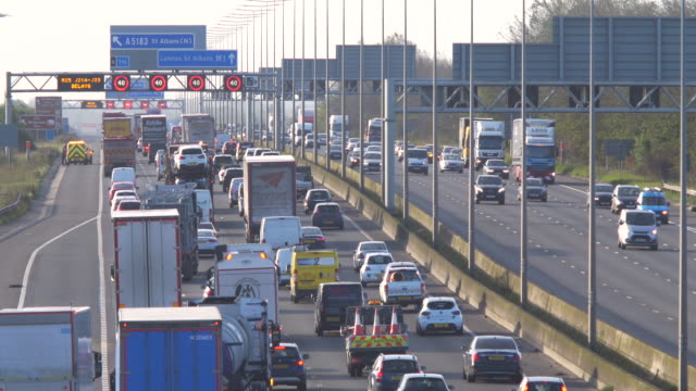heavy traffic in the morning rush hour on the m1 motorway. - european union stock videos & royalty-free footage