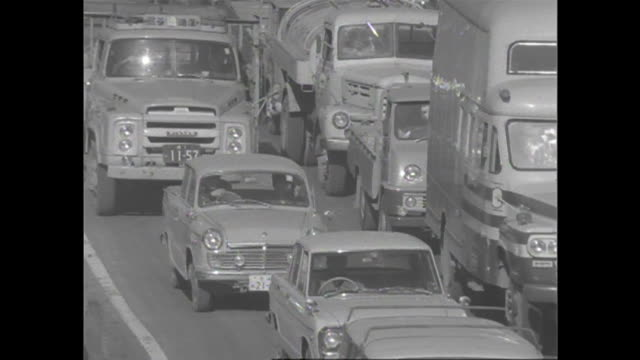 1966 heavy traffic in tokyo - showa period stock videos & royalty-free footage