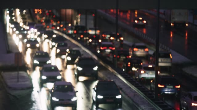 ld heavy traffic on a motorway in the evening - traffic jam stock videos & royalty-free footage
