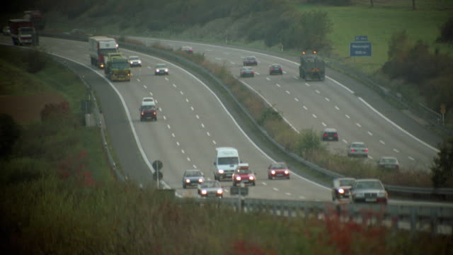 stockvideo's en b-roll-footage met heavy traffic on autobahn / germany - 1992