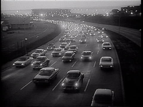 heavy traffic on highway in early evening rush hour traffic during nyc transit strike nyc transit strike on january 06 1966 in new york new york - personal land vehicle stock videos & royalty-free footage