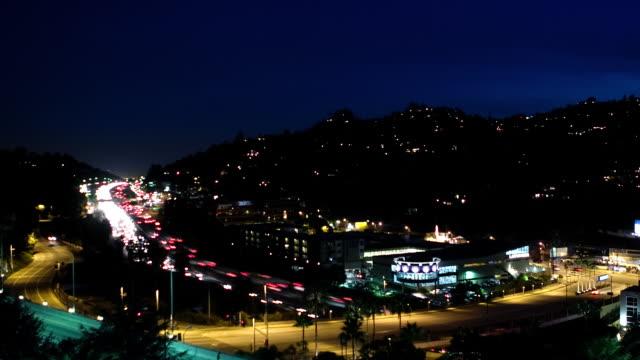 T/L, WS, HA, Heavy traffic on Hollywood Freeway at night, Universal City, California, USA