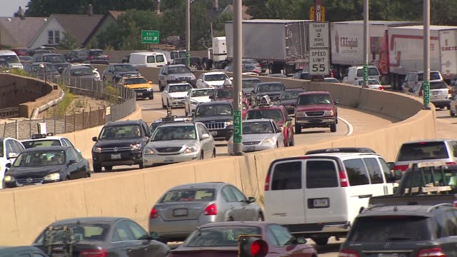 heavy traffic on illinois highway - american interstate stock videos & royalty-free footage