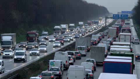 heavy traffic on motorway (dusk) - traffic jam stock videos & royalty-free footage
