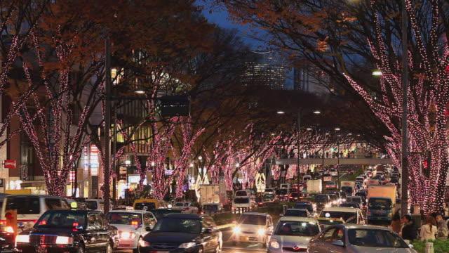 WS Heavy traffic on Omotesando avenue at night, trees with Christmas lights / Shibuya, Tokyo, Japan