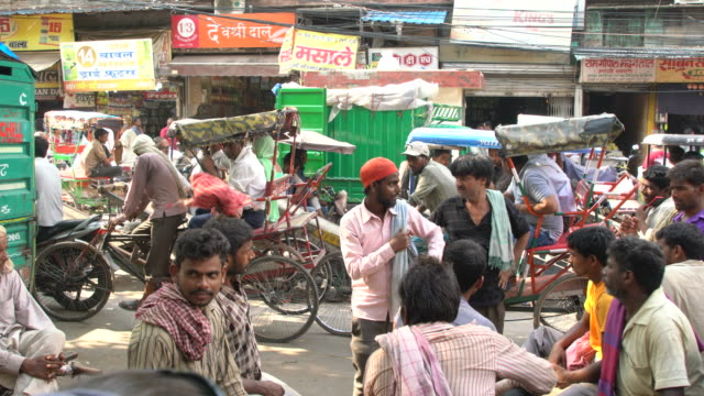 Heavy Traffic On Overcrowded Street In Old Delhi
