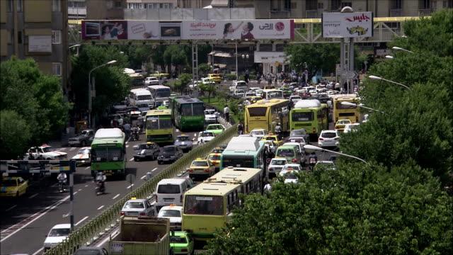 ws ha heavy traffic on street, tehran, iran - arabic script stock videos and b-roll footage