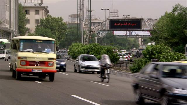 ms heavy traffic on street, tehran, iran - iran stock videos & royalty-free footage