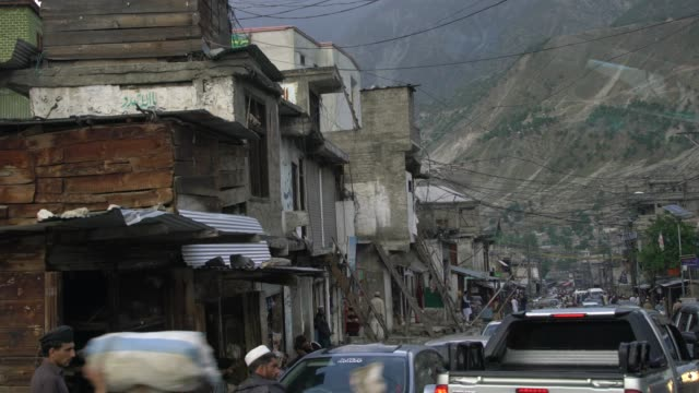 heavy traffic on the famous  karakoram highway in northern pakistan - pakistan stock videos & royalty-free footage