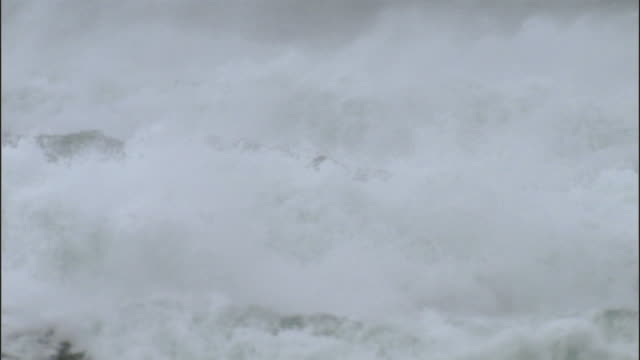 ws pan heavy waves in ocean during storm / county cork, munster, ireland - county cork stock videos & royalty-free footage