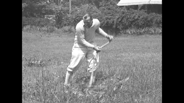 heavyweight boxer jack sharkey runs with dog on path alongside body of water / sharkey cuts grass with scythe in field / sharkey shadow boxes on... - scythe stock videos and b-roll footage