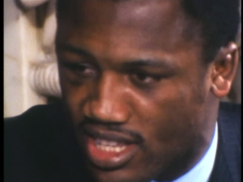 heavyweight boxing champion joe frazier talks about considering himself the champ until another fight happens. - sport stock videos & royalty-free footage