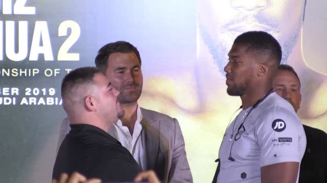 heavyweight champion andy ruiz jr promises that history would repeat itself when he takes on anthony joshua in december's controversial rematch in... - anthony joshua boxer stock videos & royalty-free footage