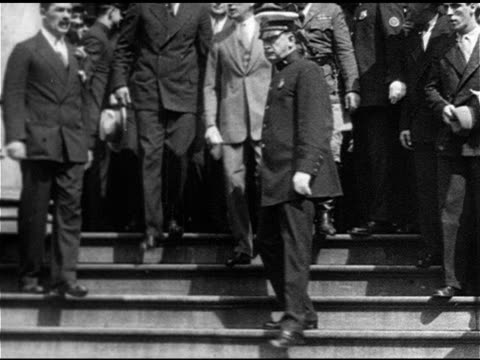 boxing heavyweight champion gene tunney walking down steps of city hall w/ new york mayor jimmy walker others ms tunney walker - boxing heavyweight stock videos & royalty-free footage