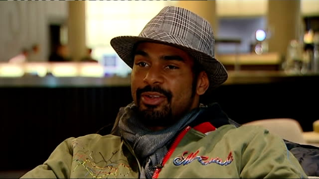 David Haye interview Haye interview SOT On time out of the ring it's ridiculous how quick I am at the moment can't wait for Saturday night /...