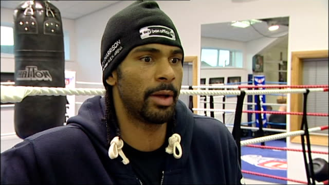 wba heavyweight title fight between david haye and audley harrison training sessions and interviews david haye intervew sot the hand is all healed... - hysteria stock videos & royalty-free footage