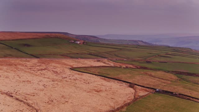 hebden bridge road, west yorkshire - aerial view - pennines stock videos and b-roll footage