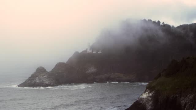 Heceta Beach State Park beach Oregon tight with fog
