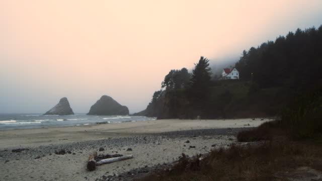 heceta beach state park beach oregon - oregon us state stock videos & royalty-free footage