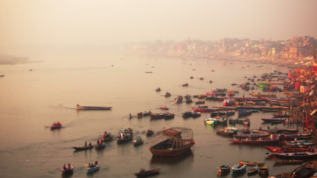 Hectic activity on the banks of the holy river Ganges