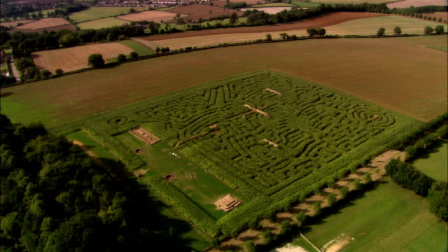 AERIAL, Hedge maze in Hidcote Manor Garden, Gloucestershire, England