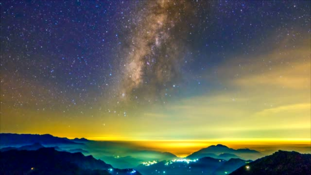 Hehuanshan national forest park day to night with milkway, Taiwan