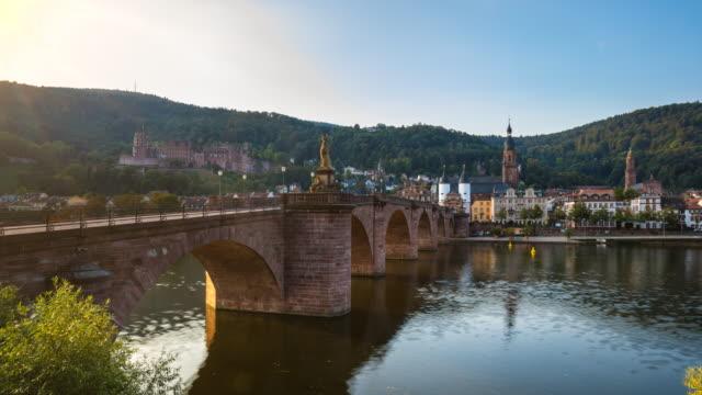 heidelberg alte brücke footbridge leading into old town across neckar river, tl, zo - ハイデルベルク城点の映像素材/bロール