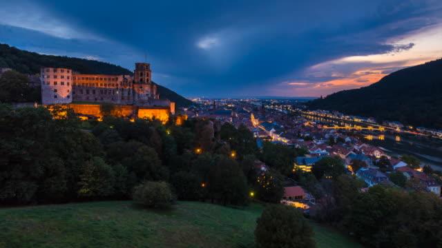 heidelberg castle and castle gardens, aerial view tl, ws - ハイデルベルク城点の映像素材/bロール
