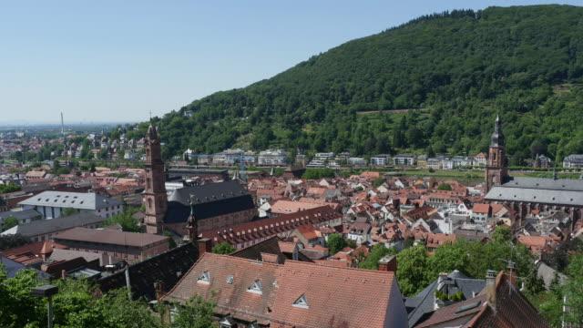 heidelberg's old city as seen from the philosopher's way - heidelberg germany stock videos & royalty-free footage