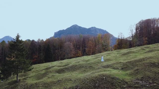 'heidi' girl in blue dress on a alpine meadow in autumn - 白のドレス点の映像素材/bロール