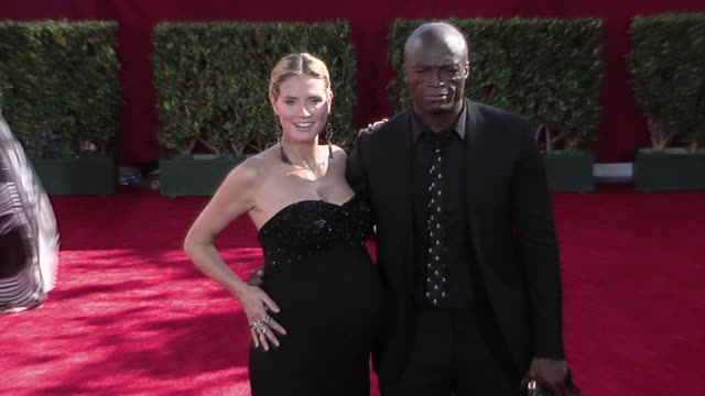 heidi klum and seal at the 61st annual primetime emmy awards - arrivals part 3 at los angeles ca. - emmy awards stock videos & royalty-free footage