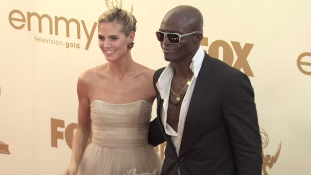 heidi klum and seal at the 63rd primetime emmy awards - arrivals part 2 at los angeles ca. - heidi klum stock videos & royalty-free footage