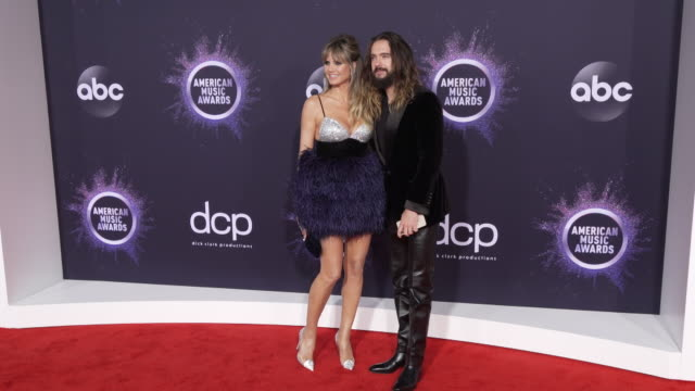 heidi klum and tom kaulitz at the 2019 american music awards at microsoft theater on november 24 2019 in los angeles california - american music awards stock videos & royalty-free footage