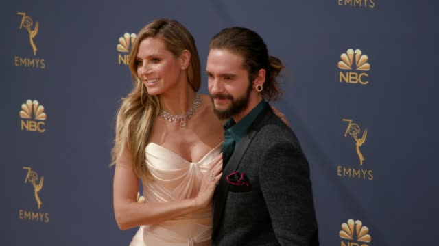 heidi klum and tom kaulitz at the 70th emmy awards - arrivals at microsoft theater on september 17, 2018 in los angeles, california. - emmy awards stock-videos und b-roll-filmmaterial