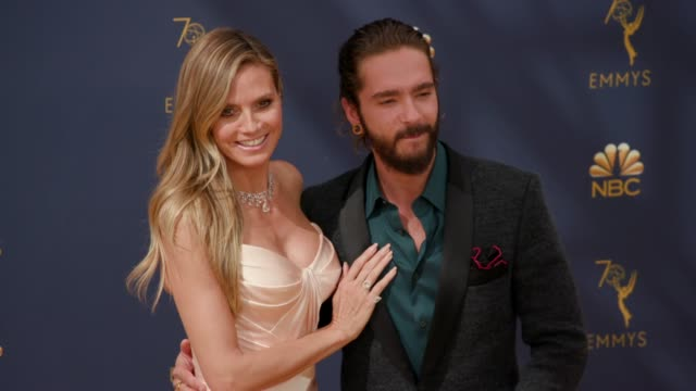 vídeos de stock, filmes e b-roll de heidi klum and tom kaulitz at the 70th emmy awards arrivals at microsoft theater on september 17 2018 in los angeles california - 70th annual primetime emmy awards