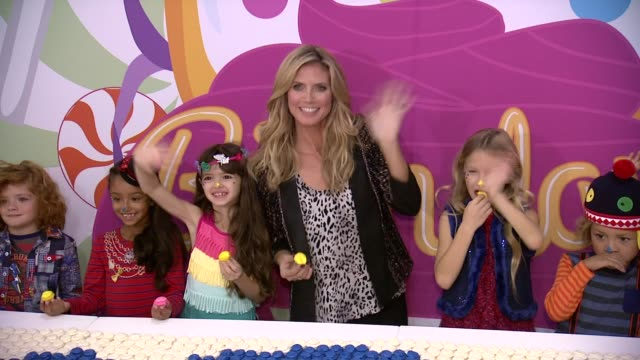 heidi klum at heidi klum presents her holiday truly scrumptious collection for babiesrus at kids fashion week in nyc at industria studios on october... - fashion collection stock videos & royalty-free footage
