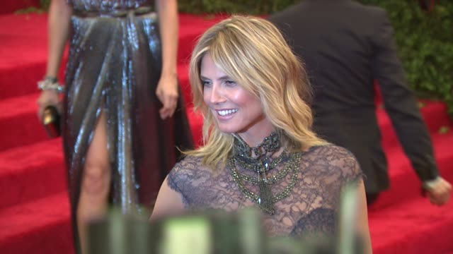 heidi klum at schiaparelli and prada impossible conversations costume institute gala at metropolitan museum of art on may 07 2012 in new york new york - escada stock videos & royalty-free footage