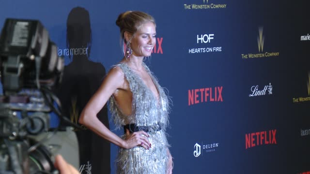 heidi klum at tiny prints gratitude lounge arrivals at the weinstein company netflix 2016 golden globes after party at robinsons may lot on january... - heidi klum stock videos and b-roll footage