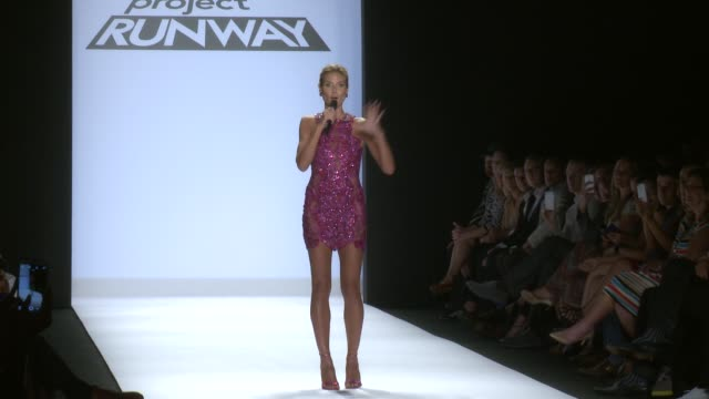 speech heidi klum explains the time and budget constraints the designers had to work with during project runway spring 2015 mercedesbenz fashion week... - heidi klum stock videos and b-roll footage