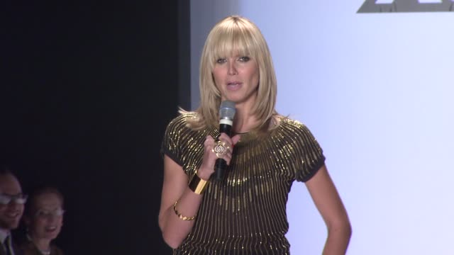 heidi klum introduces the 'project runway' season 4 collections at the tent at the mercedesbenz fashion week fall 2008 'project runway' runway show... - season 4 stock videos and b-roll footage