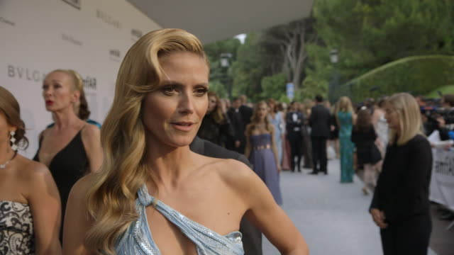 interview heidi klum on being at amfar at amfar red carpet at hotel du capedenroc on may 22 2014 in cap d'antibes france - heidi klum stock videos and b-roll footage