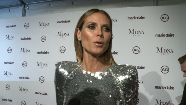 interview heidi klum on presenting to tom bachik why its important to support these creative artists who influences her fashion and her secret weapon... - interview stock videos & royalty-free footage