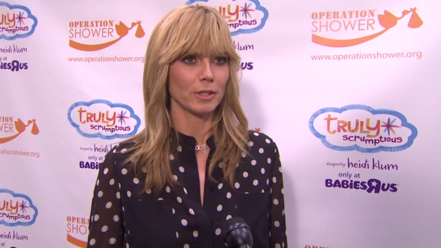 interview heidi klum on why she wanted to work with babies r us on this event what advice she has for new moms what she is most looking forward to... - heidi klum stock videos and b-roll footage