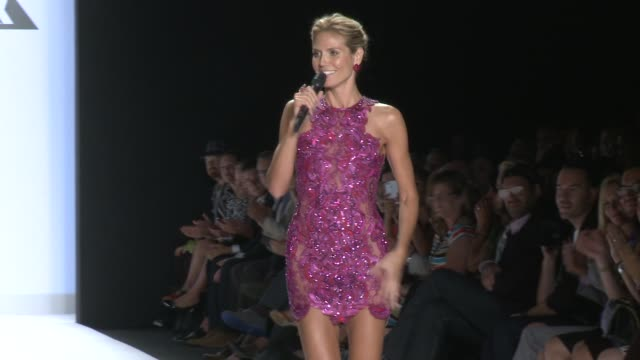 speech heidi klum talks about the number of designers showing today during project runway spring 2015 mercedesbenz fashion week at the theatre at... - heidi klum stock videos and b-roll footage