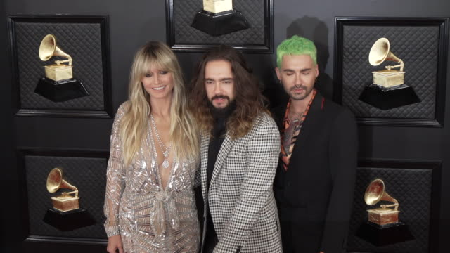 vidéos et rushes de heidi klum tom kaulitz and bill kaulitz at the 62nd annual grammy awards arrivals at staples center on january 26 2020 in los angeles california - grammy awards